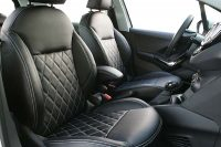 Peugeot 208 Alba eco-leather Zwart Diamond Stiksel Wit