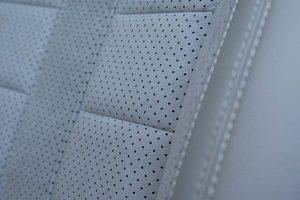 Peugeot 308 Buffalino Leder Titaniumgrijs Alcantara Geperforeerd Detail Voorstoel