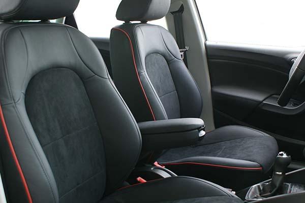 Leren stoelen seat leon : Seat ibiza fr buffalino leder zwart met alcantara en rode bies alba automotive