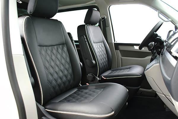 VW Transporter T6 alba eco-leather antraciet eco-suede zwart speciaal design Voorstoelen