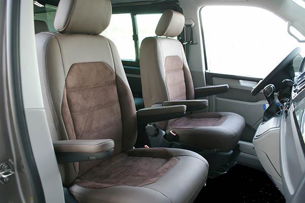 Volkswagen Transporter T6, Alba Buffalino Leder Chocolade bruin met Alba Amber Alcantara voorstoelen