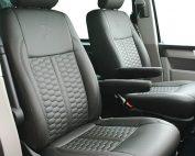 Volkswagen Transporter T6, Alba eco-leather antraciet met honingraat voorstoelen