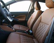 Nissan Micra, Alba eco-leather Kaneelbruin met diamond patroon en geborduurd logo voorstoelen