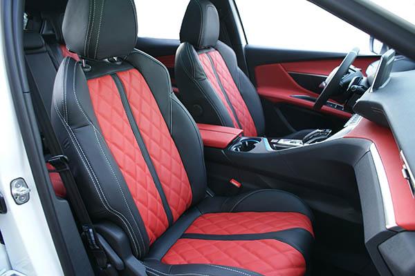 Peugeot 3008 Alba Buffalino Leder Zwart Rood Voorstoelen