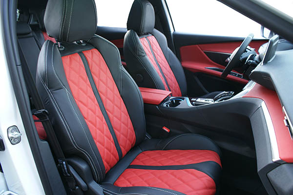 Peugeot 3008 Alba Buffalino Leder inbouw zwart rood diamond stiksel