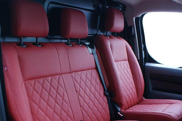 Peugeot Expert 3-zits Alba Buffalino Leder Inbouw Rood Diamond Detail
