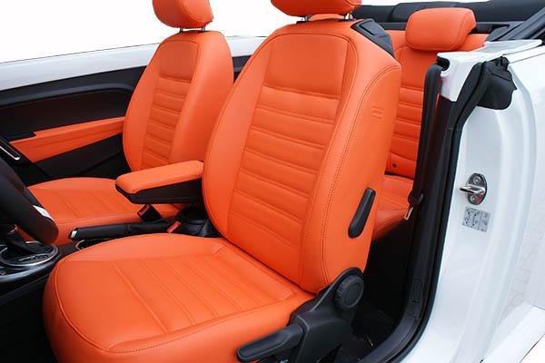 Volkswagen Beetle Cabriolet Alba Royal Mandarin Exclusive Leder Inbouw Voorstoelen