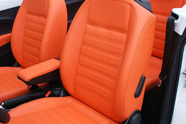 Volkswagen Beetle Cabriolet Alba Royal Mandarin Exclusive Leder Inbouw Voorstoelen Detail