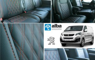 Peugeot Expert Alba Zwart Buffalino Leder Dubbel Diamond Oranje Stiksel
