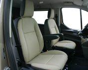 Ford Transit Custom 2018 Zwart en Pearl Buffalino Leder Voorstoelen