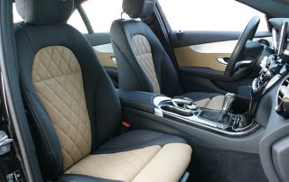 Mercedes Benz C-Klasse W205 Alba eco-leather Zwart Beige Diamond Logo Voorstoelen