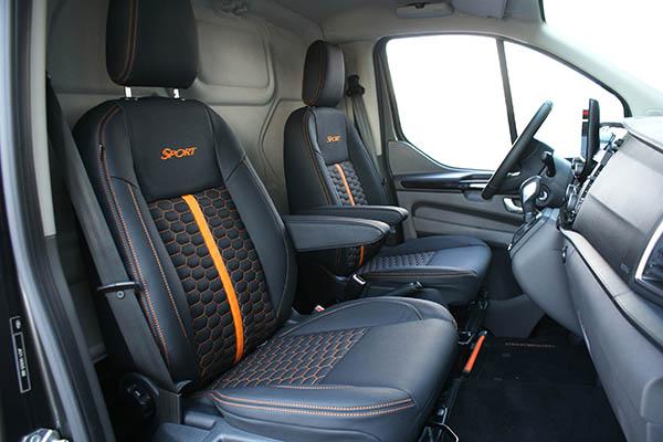 Ford Transit Custom Alba Eco-leather Zwart Honingraat Voorstoelen