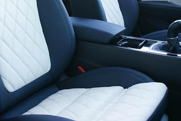 Opel Insignia Alba Buffalino Leder Inbouw Interieur Marine Blauw Wit Voorstoelen Detail